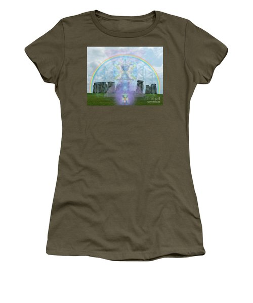 Chalice Over Stonehenge In Flower Of Life And Man Women's T-Shirt (Junior Cut) by Christopher Pringer