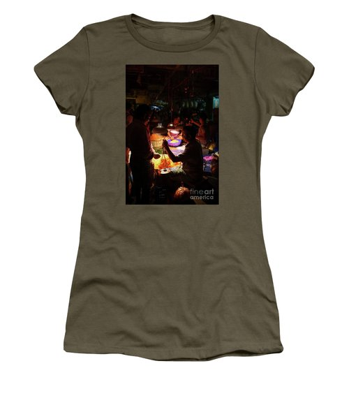 Women's T-Shirt (Junior Cut) featuring the photograph Chennai Flower Market Transaction by Mike Reid