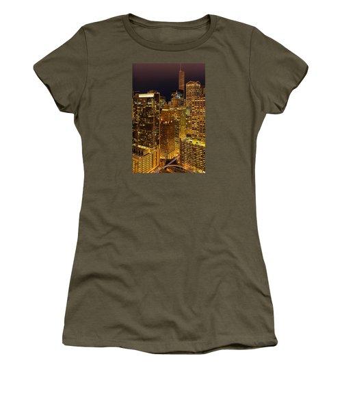 Chicago At Night Women's T-Shirt (Junior Cut) by Joni Eskridge