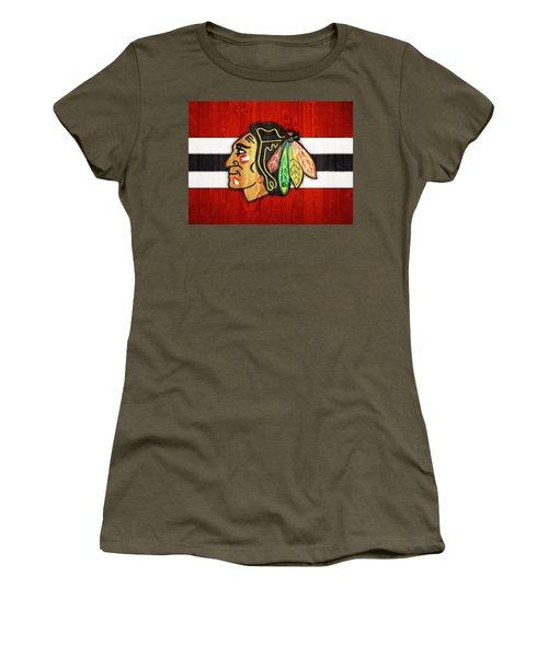 Women's T-Shirt featuring the digital art Chicago Blackhawks Barn Door by Dan Sproul