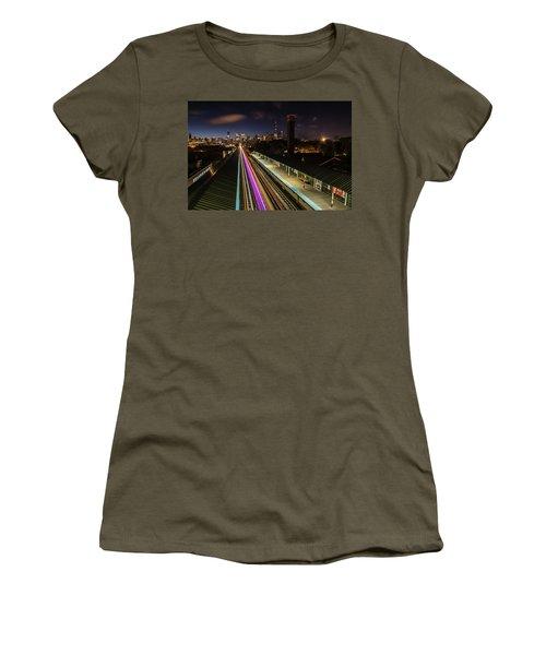 Chicago Skyline And Train Lights Women's T-Shirt
