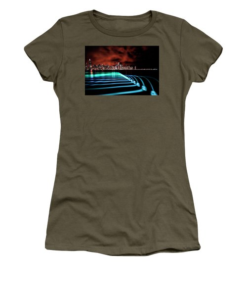 Chicago Skyline With Blue Pixel Stick Light Painting Women's T-Shirt