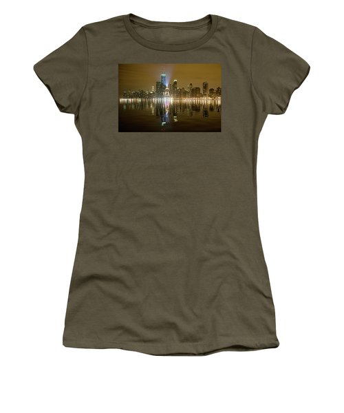 Chicago Skyline With Lindbergh Beacon On Palmolive Building Women's T-Shirt (Athletic Fit)