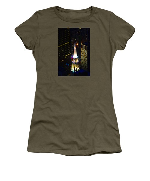 Women's T-Shirt (Junior Cut) featuring the photograph Chicago Temple Building Steeple by Richard Zentner