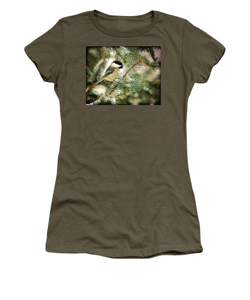 Chickadee On A Snowy Tree Women's T-Shirt