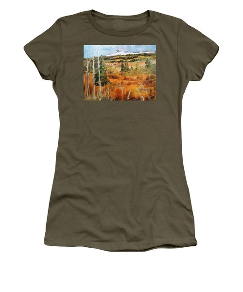 Chief Mountain Women's T-Shirt (Junior Cut) by Larry Hamilton