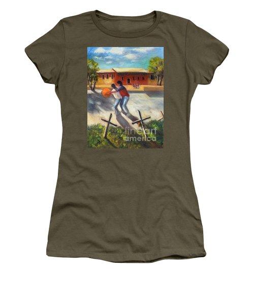 Women's T-Shirt (Junior Cut) featuring the painting Tres Cruces De La Juventud Y La Vejez by Randol Burns