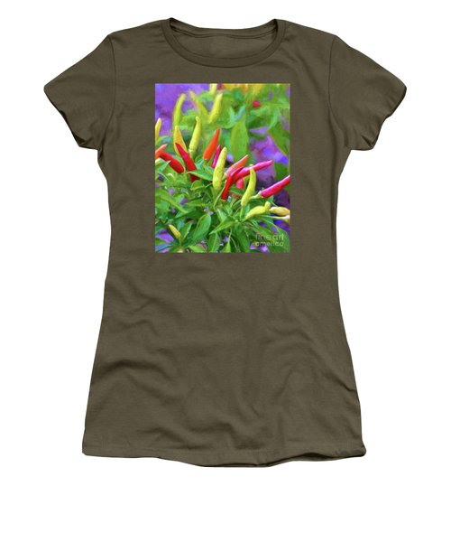 Women's T-Shirt (Athletic Fit) featuring the photograph Chili Pepper Art by Kerri Farley