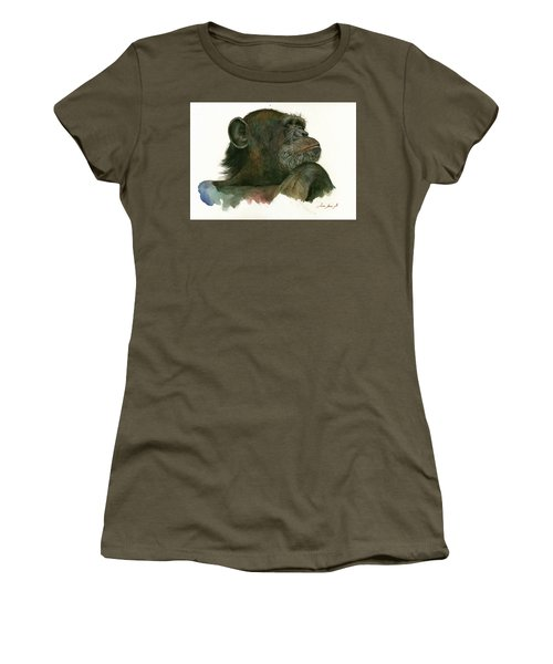 Chimp Portrait Women's T-Shirt (Junior Cut) by Juan Bosco