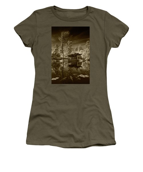 Women's T-Shirt (Junior Cut) featuring the photograph Chinese Botanical Garden In California With Koi Fish In Sepia Tone by Randall Nyhof