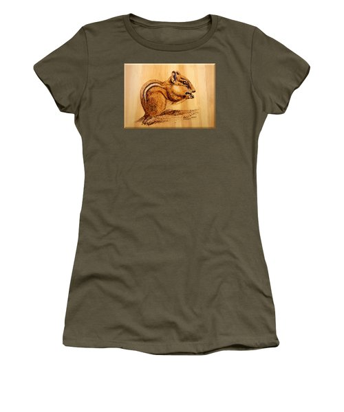 Women's T-Shirt (Junior Cut) featuring the pyrography Chippies Lunch by Ron Haist