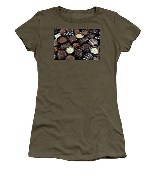 Chocolates Women's T-Shirt (Junior Cut) by Vivian Krug Cotton