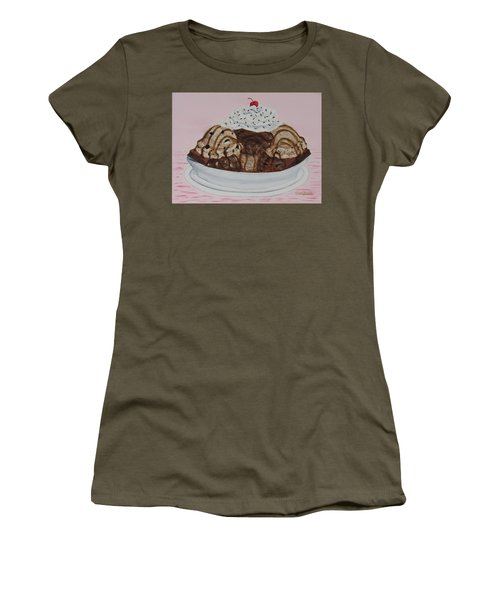 Women's T-Shirt featuring the painting Chocolatey Brownie Sundae by Nancy Nale
