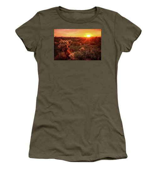 Women's T-Shirt (Junior Cut) featuring the photograph Cholla Sunset In The Sonoran  by Saija Lehtonen