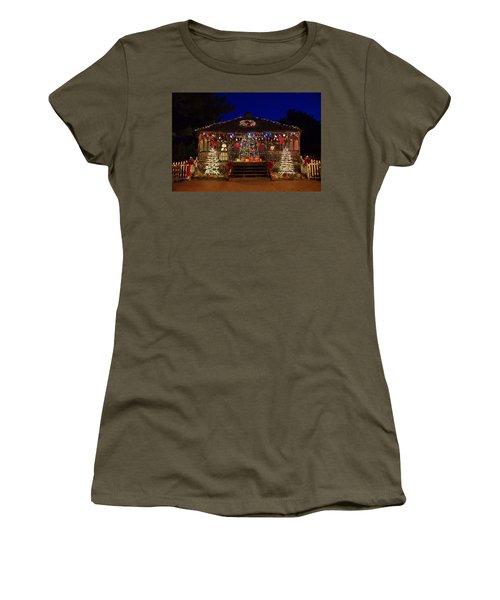 Christmas At The Lighthouse Gazebo Women's T-Shirt (Junior Cut) by Greg Graham