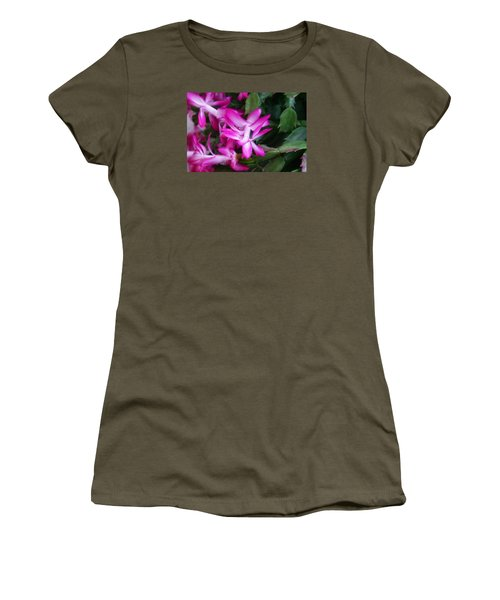 Women's T-Shirt (Junior Cut) featuring the photograph Christmas Cactus by Joan Bertucci