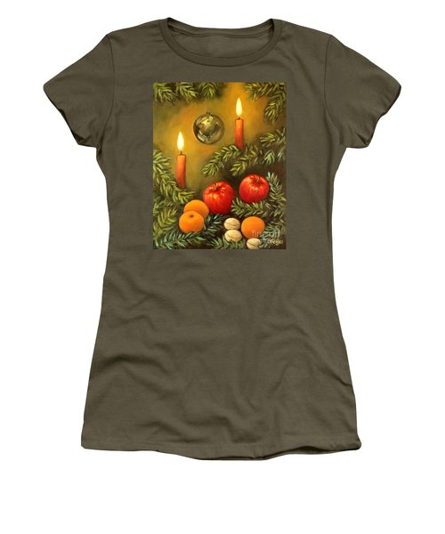 Women's T-Shirt (Junior Cut) featuring the painting Christmas Lights by Inese Poga