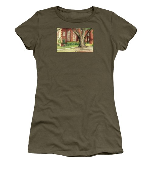 Women's T-Shirt (Junior Cut) featuring the painting Church Tree by Denise Fulmer