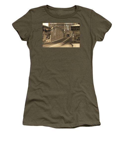 Cincinnati - Roebling Bridge 1 Sepia Women's T-Shirt (Junior Cut) by Frank Romeo