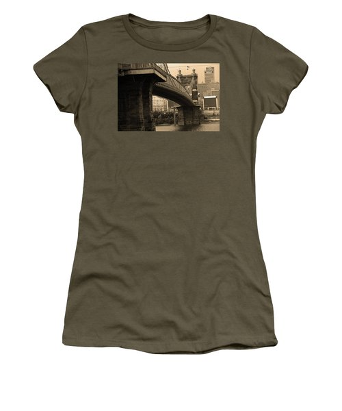 Cincinnati - Roebling Bridge 2 Sepia Women's T-Shirt (Junior Cut) by Frank Romeo