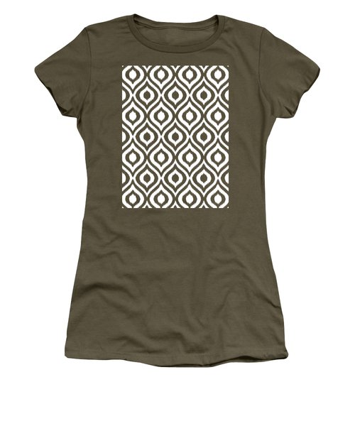 Circle And Oval Ikat In White T05-p0100 Women's T-Shirt (Athletic Fit)