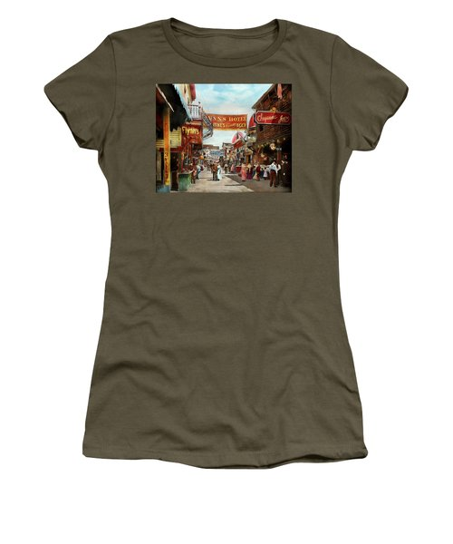 Women's T-Shirt (Junior Cut) featuring the photograph City - Coney Island Ny - Bowery Beer 1903 by Mike Savad