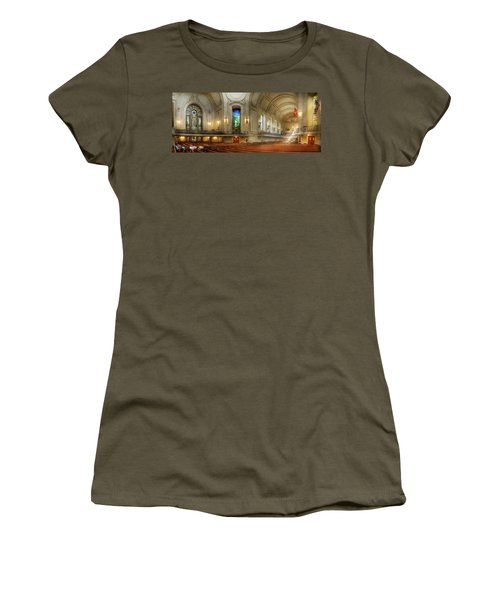 Women's T-Shirt (Athletic Fit) featuring the photograph City - Naval Academy - God Is My Leader by Mike Savad