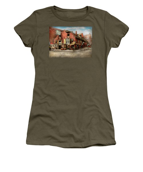 Women's T-Shirt (Junior Cut) featuring the photograph City - Pa - Fish And Provisions 1898 by Mike Savad