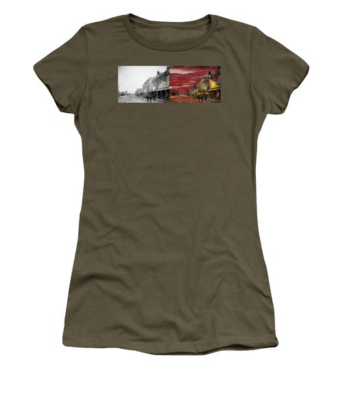 Women's T-Shirt (Junior Cut) featuring the photograph City - Palmerston North Nz - The Shopping District 1908 - Side By Side by Mike Savad