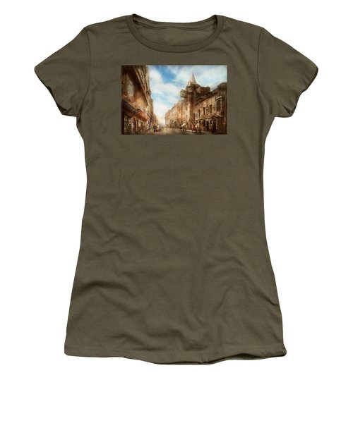 Women's T-Shirt (Junior Cut) featuring the photograph City - Scotland - Tolbooth Operator 1865 by Mike Savad
