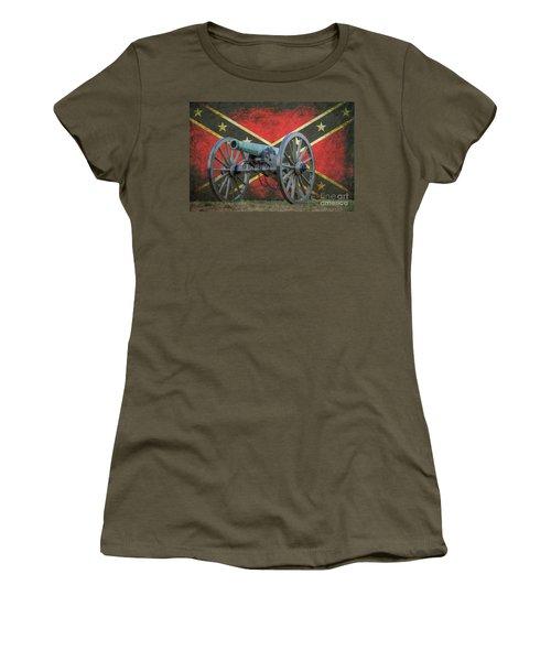 Civil War Cannon Rebel Flag Women's T-Shirt (Athletic Fit)
