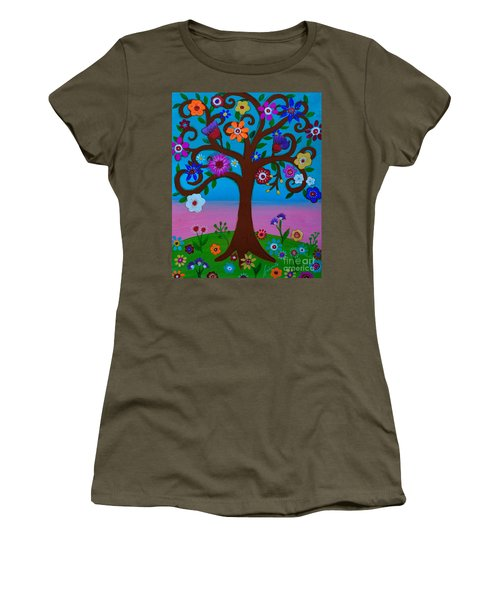 Women's T-Shirt (Athletic Fit) featuring the painting Cj's Tree by Pristine Cartera Turkus