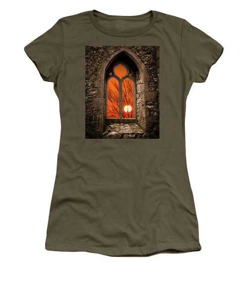 Women's T-Shirt (Athletic Fit) featuring the photograph Clare Abbey Sunrise by James Truett