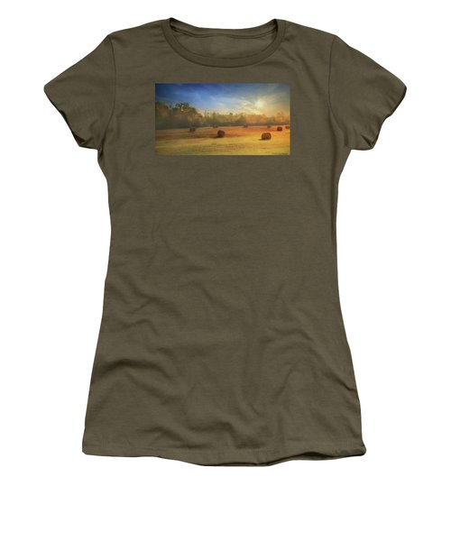 Women's T-Shirt (Junior Cut) featuring the photograph Clayton Morning Mist by Lori Deiter