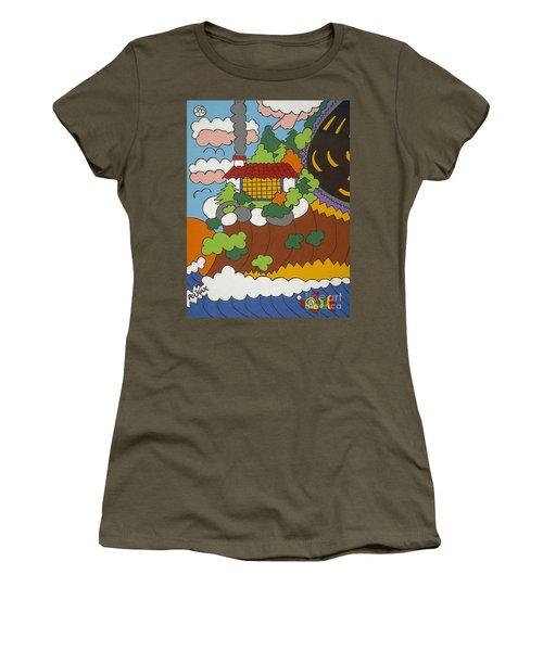 Cliff House Over Ocean Women's T-Shirt (Junior Cut) by Rojax Art