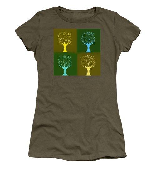 Women's T-Shirt (Junior Cut) featuring the mixed media Clip Art Trees by Dan Sproul
