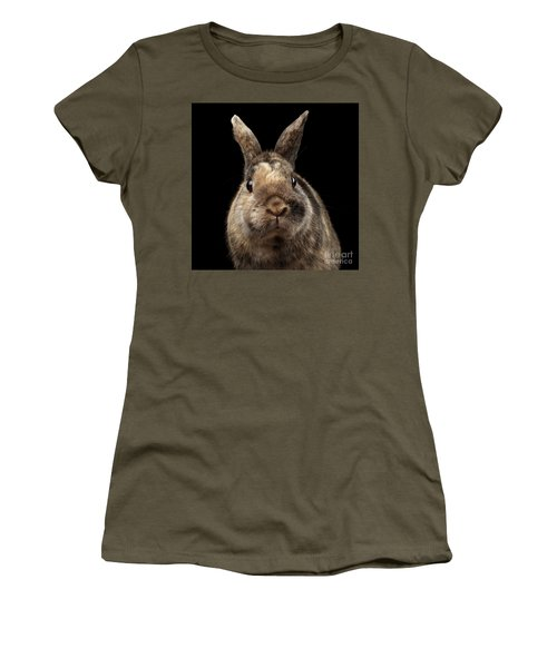 Closeup Funny Little Rabbit, Brown Fur, Isolated On Black Backgr Women's T-Shirt