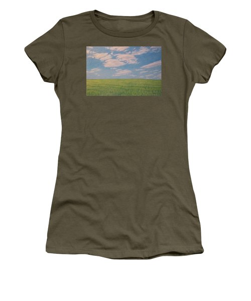 Women's T-Shirt featuring the drawing Clouds Over Green Field by Cris Fulton