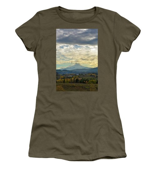 Cloudy Day Over Mount Hood At Hood River Oregon Women's T-Shirt (Athletic Fit)