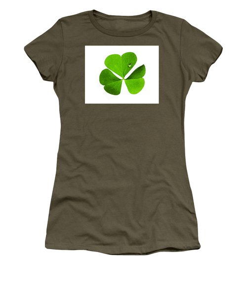 Women's T-Shirt (Athletic Fit) featuring the photograph Clover And Water Droplet by Roger Bester