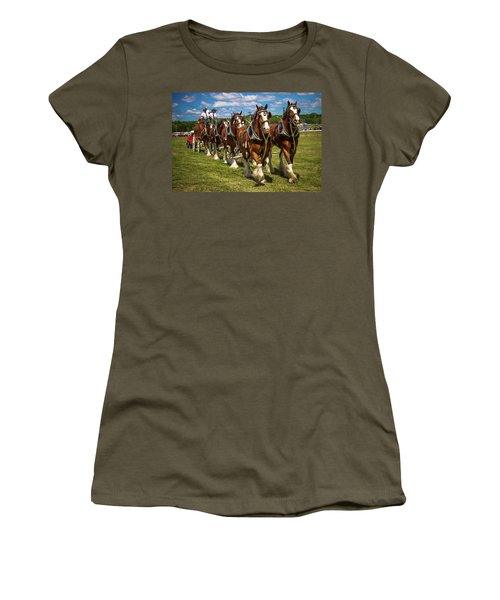 Women's T-Shirt (Athletic Fit) featuring the photograph Budweiser Clydesdale Horses by Robert L Jackson