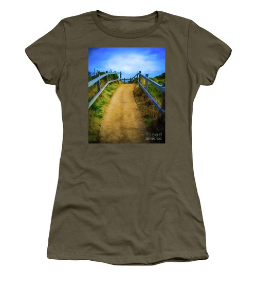 Women's T-Shirt (Junior Cut) featuring the photograph Coast Path by Perry Webster