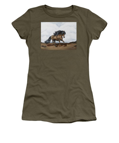 Women's T-Shirt (Athletic Fit) featuring the painting Coco by Teresa Wing