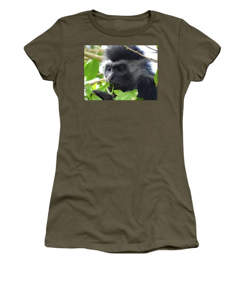 Colobus Monkey Eating Leaves In A Tree Close Up Women's T-Shirt (Athletic Fit)
