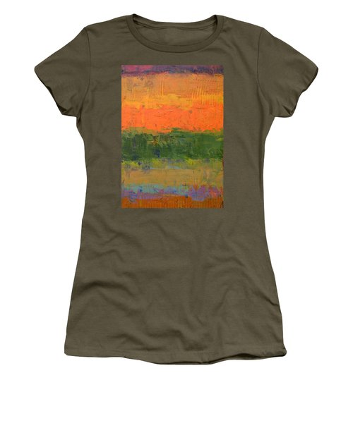 Women's T-Shirt (Junior Cut) featuring the painting Color Collage Four by Michelle Calkins