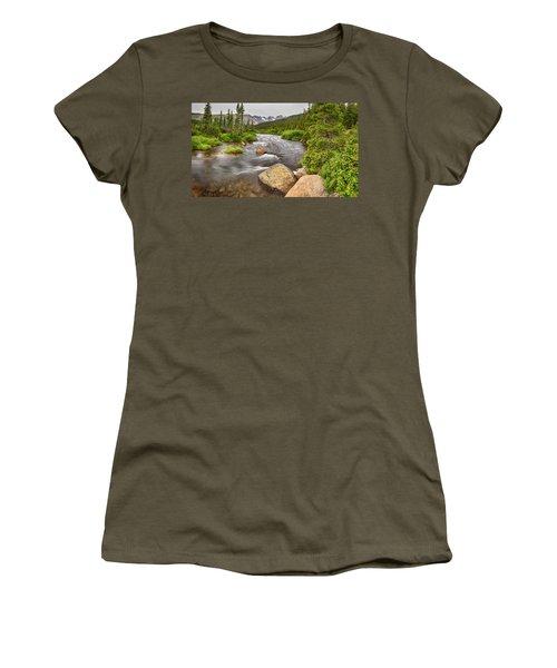 Colorado Indian Peaks Wilderness Creek Panorama Women's T-Shirt