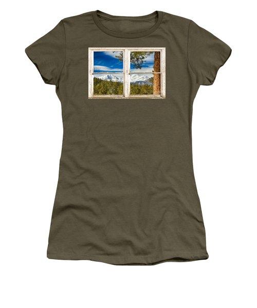 Colorado Rocky Mountain Rustic Window View Women's T-Shirt