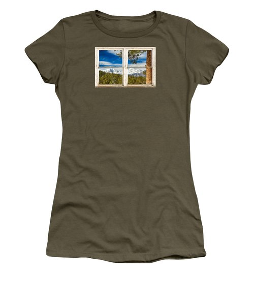 Colorado Rocky Mountain Rustic Window View Women's T-Shirt (Junior Cut)