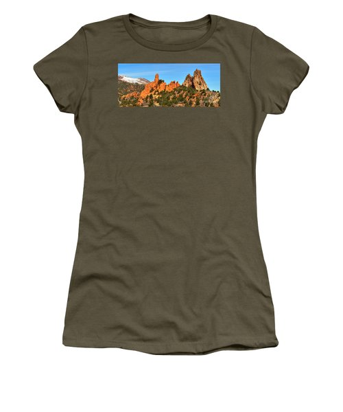 Women's T-Shirt (Junior Cut) featuring the photograph Colorado Springs Garden Of The Gods High Point Panorama by Adam Jewell