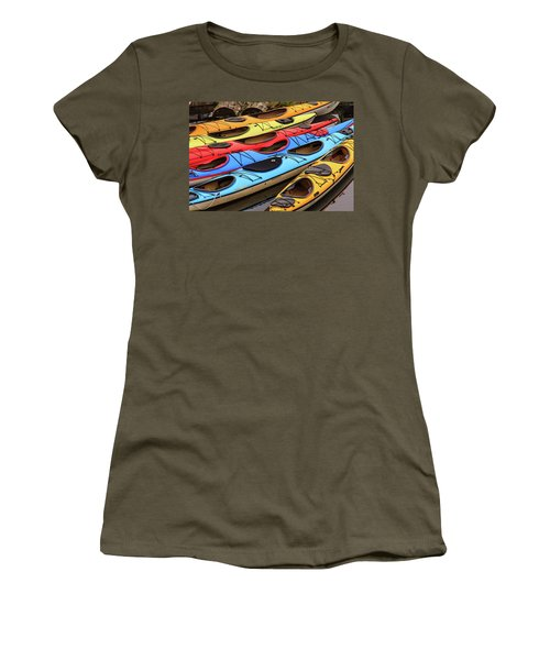 Colorful Alaska Kayaks Women's T-Shirt (Athletic Fit)